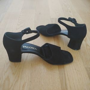 black suede Paloma sandals